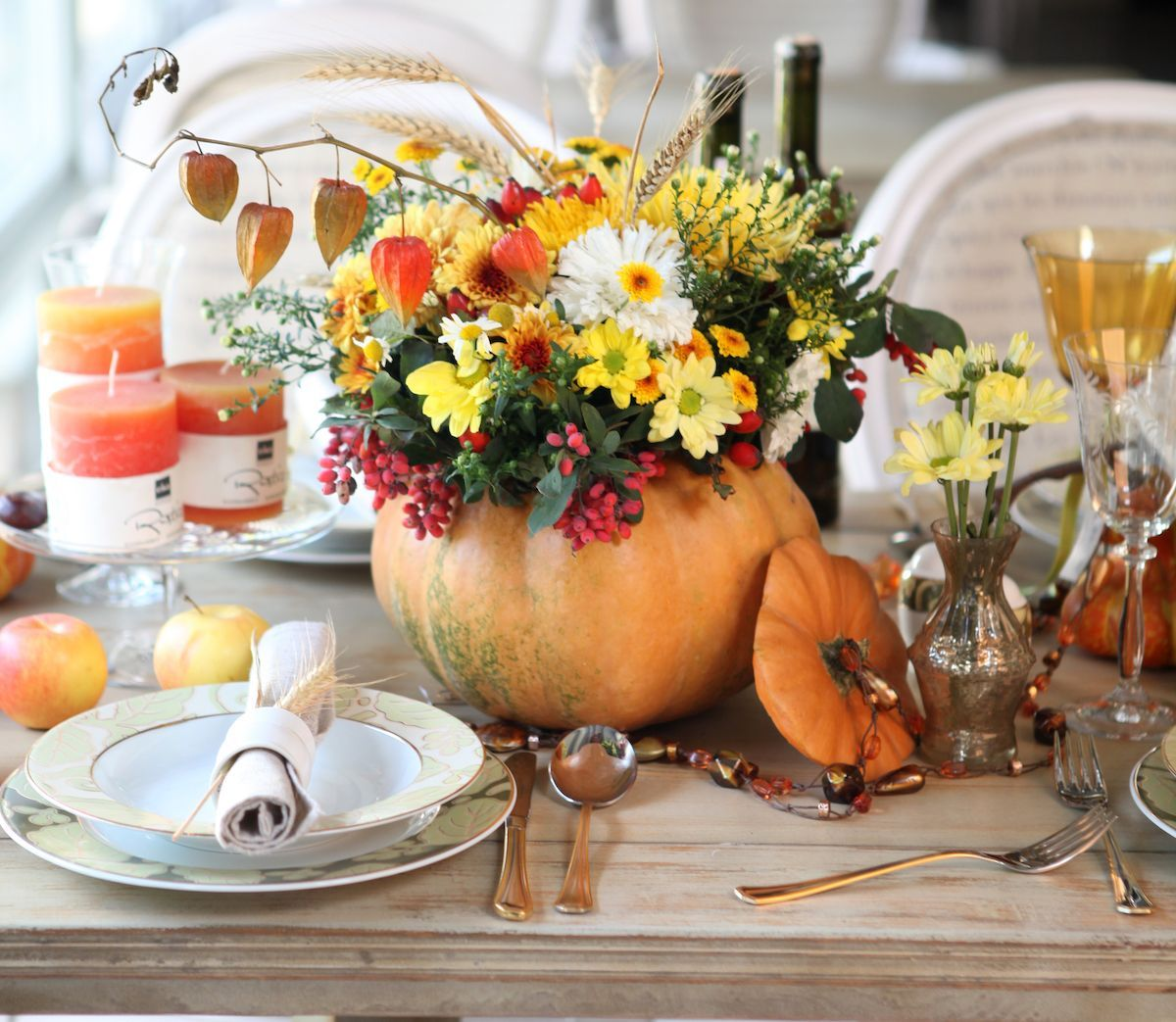 Floral arrangement in a pumpkin.