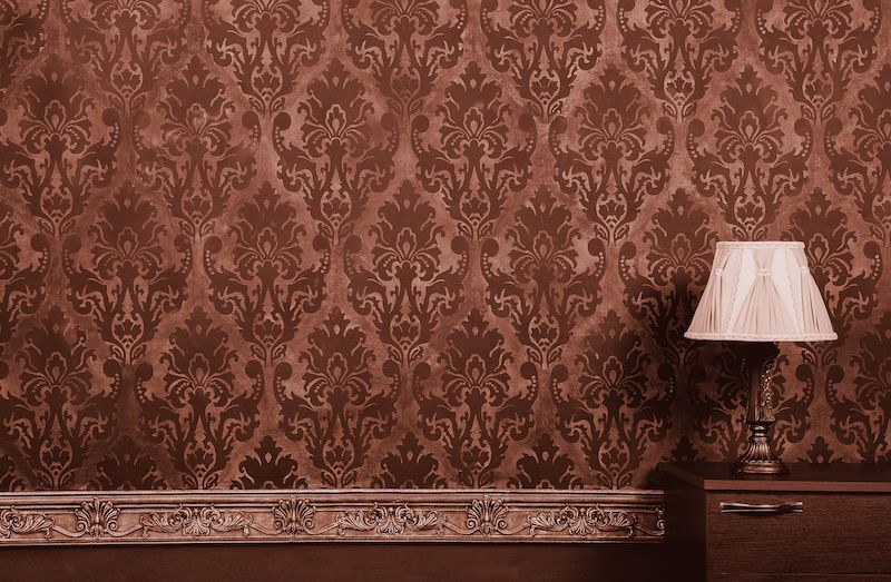 Vintage wallpaper and lamp.