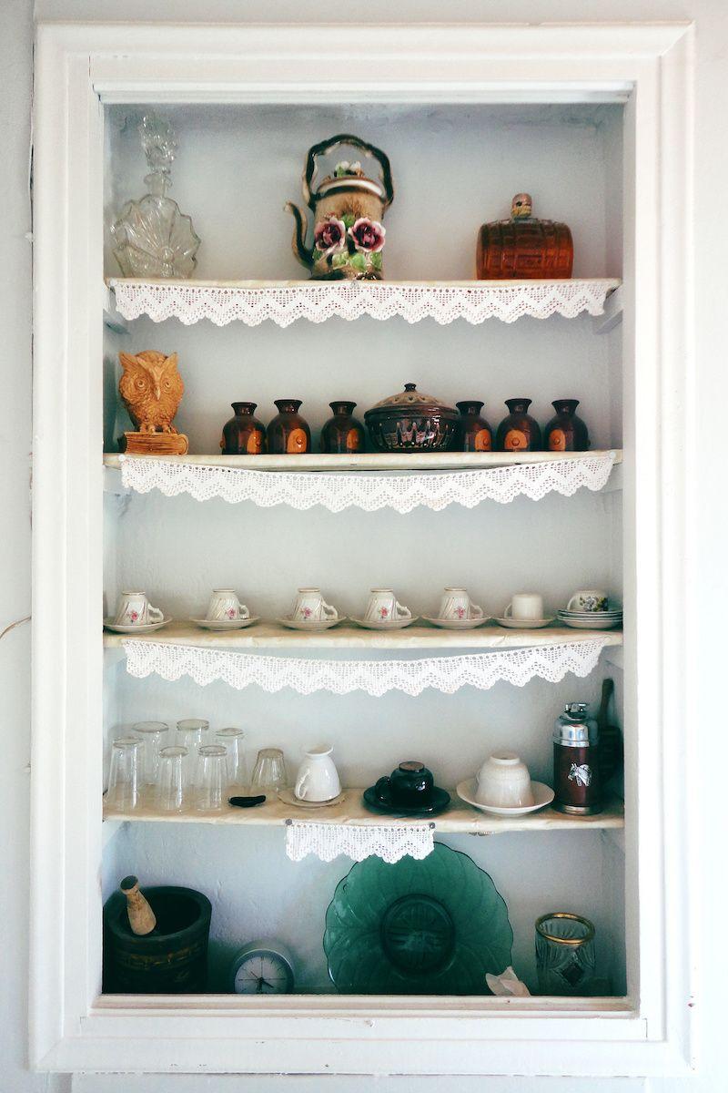 Vintage shelf with trinkets.