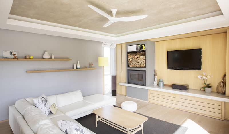 tray ceiling in a living room with tiling