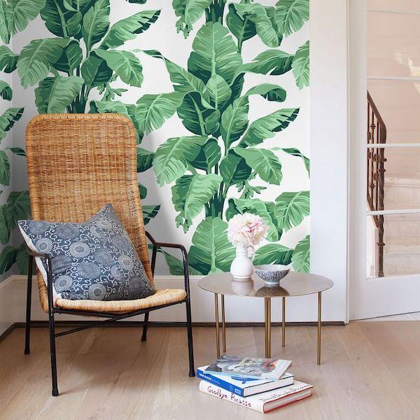 West Elm Tropical Leaf Wallpaper.