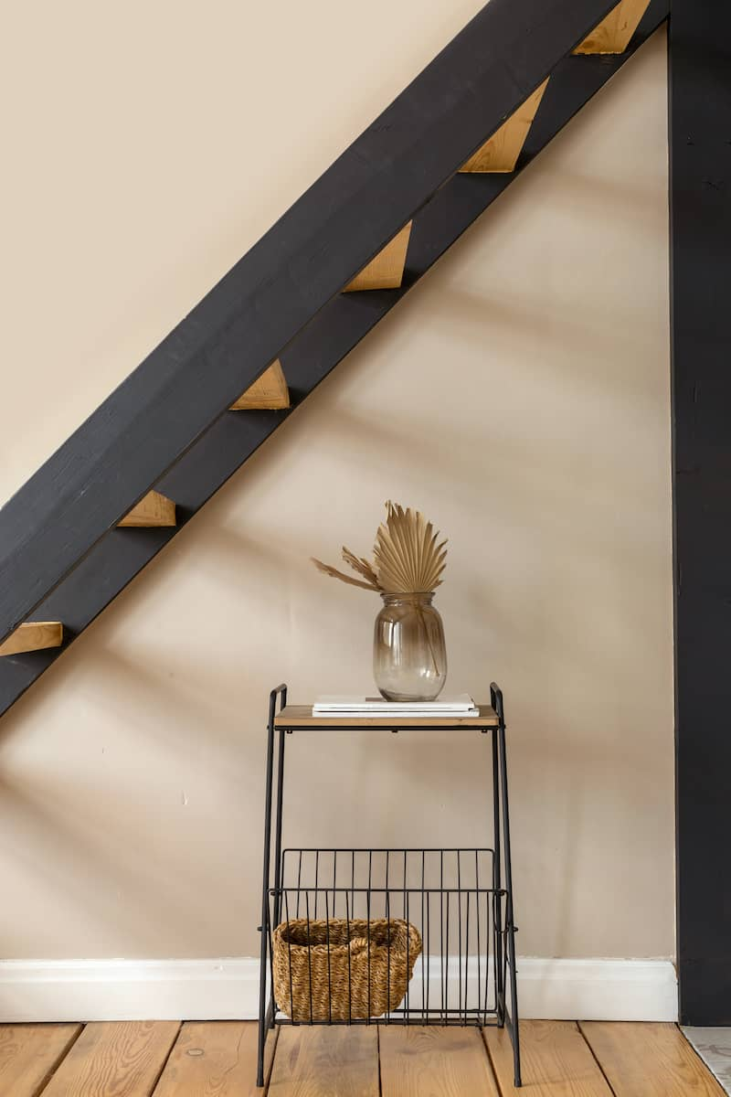 decorative shelving under stairs