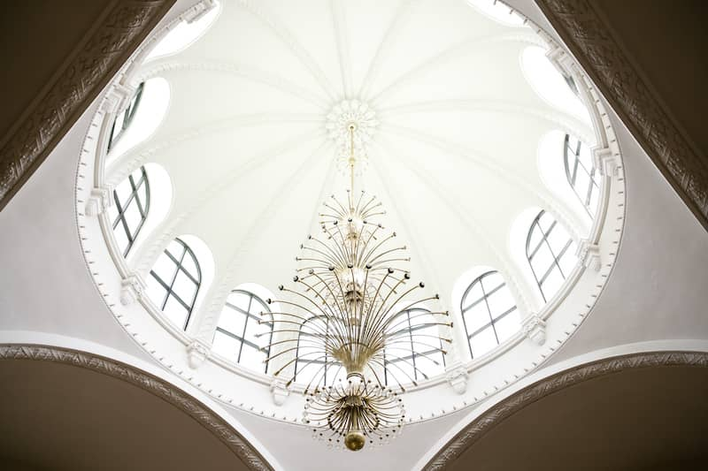 White dome ceiling with skylight