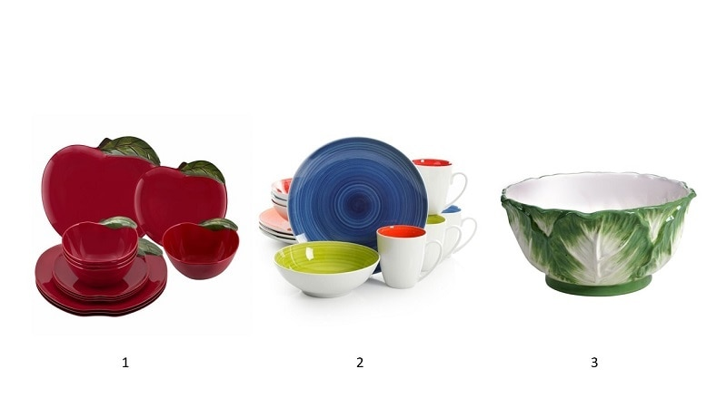 Image one: apple dinner ware, Image two: multicolor dinnerware, image three: leaf dinnerware