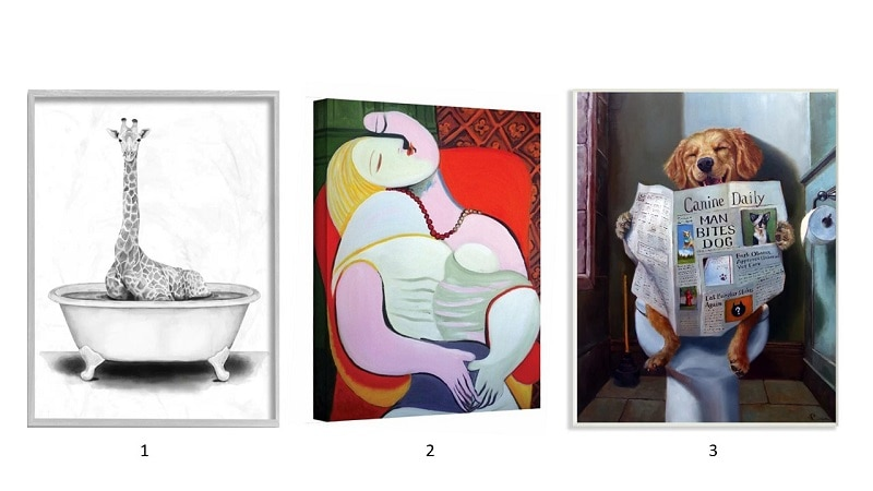 Picture One: Giraffe in a Tub, Picture 2: Abstract Portrait, Picture Three: Dog Reading a Newspaper