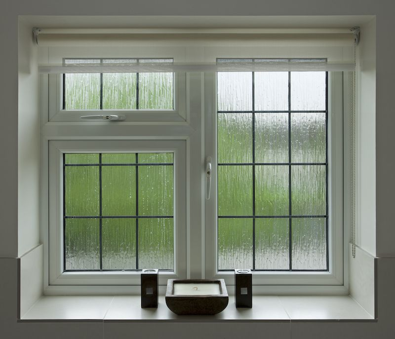 Frosted and textured glass windows.
