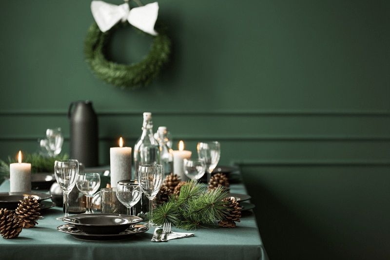 green room with green table with greenery