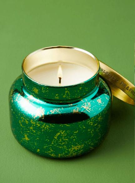 Capri blue fir and firewood jar candle.