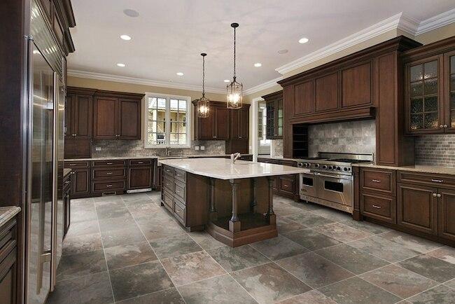 ceramic tiles in kitchen with dark wood theme