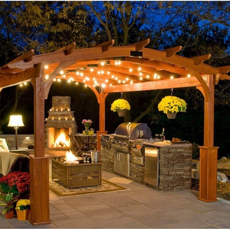 outdoor lights around a wooden pergola