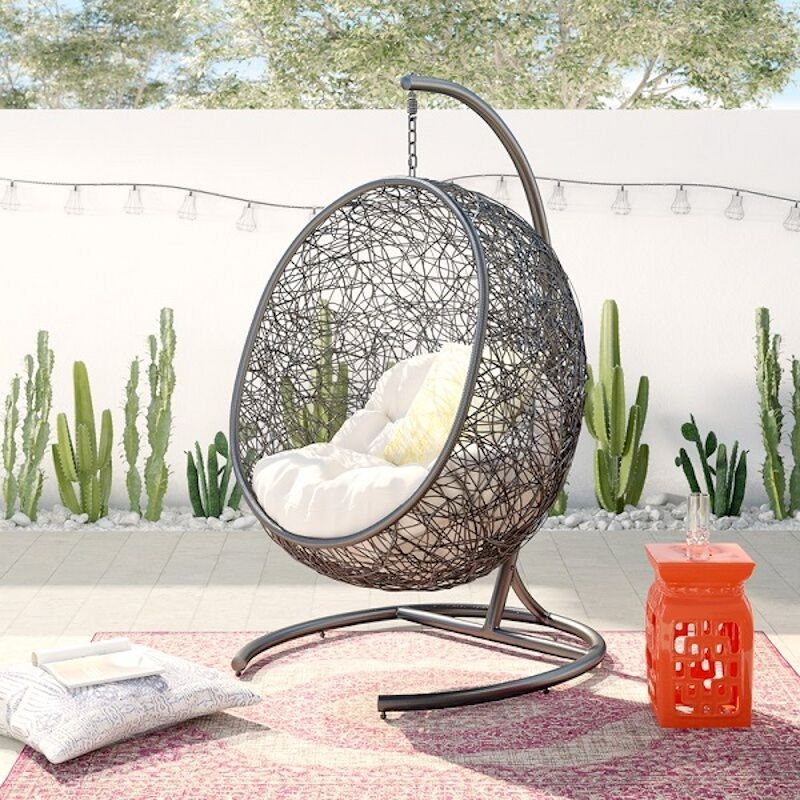 hanging half-dome outdoor swing chair