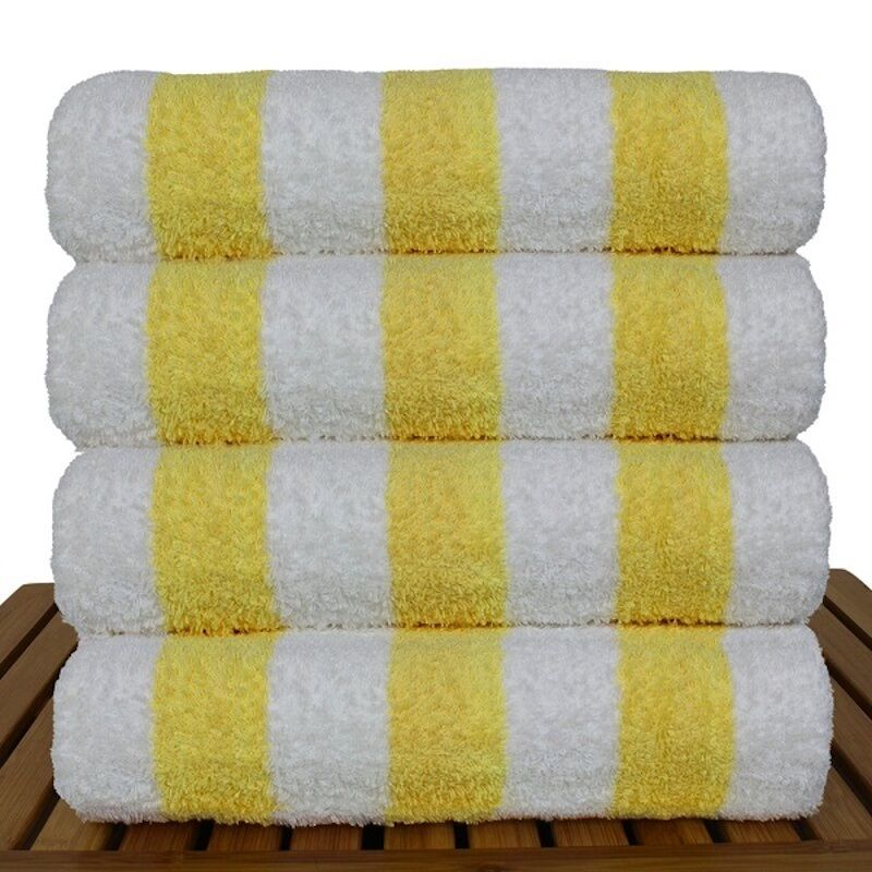 bright yellow striped towels