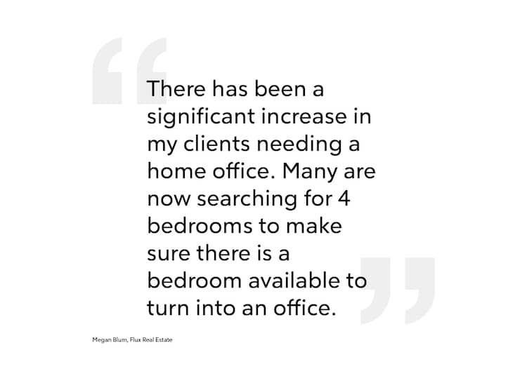 """Pull quote: """"There has been a significant increase in needing a home office for one of the bedrooms or even narrowing down a search to four bedrooms to make sure there is a bedroom available to turn into an office."""""""